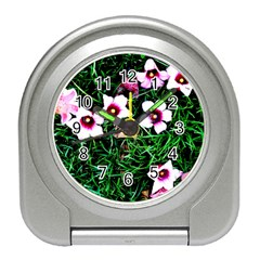 Pink Flowers Over A Green Grass Travel Alarm Clocks by DanaeStudio