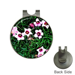 Pink Flowers Over A Green Grass Hat Clips With Golf Markers by DanaeStudio