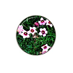 Pink Flowers Over A Green Grass Hat Clip Ball Marker by DanaeStudio