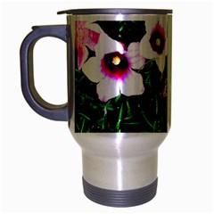 Pink Flowers Over A Green Grass Travel Mug (silver Gray) by DanaeStudio