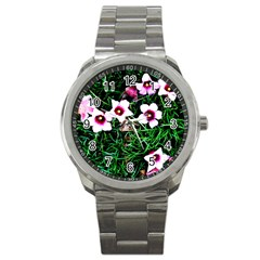Pink Flowers Over A Green Grass Sport Metal Watch by DanaeStudio