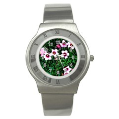 Pink Flowers Over A Green Grass Stainless Steel Watch by DanaeStudio