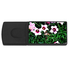Pink Flowers Over A Green Grass Usb Flash Drive Rectangular (4 Gb)  by DanaeStudio