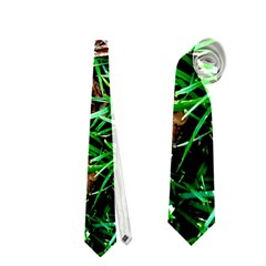 Pink Flowers Over A Green Grass Neckties (two Side)  by DanaeStudio
