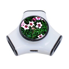 Pink Flowers Over A Green Grass 3 Port Usb Hub by DanaeStudio