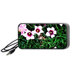 Pink Flowers Over A Green Grass Portable Speaker (black)