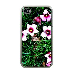 Pink Flowers Over A Green Grass Apple Iphone 4 Case (clear)