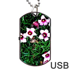 Pink Flowers Over A Green Grass Dog Tag Usb Flash (two Sides)