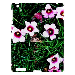 Pink Flowers Over A Green Grass Apple Ipad 3/4 Hardshell Case by DanaeStudio
