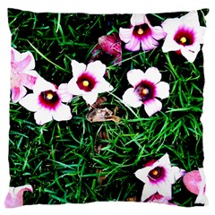 Pink Flowers Over A Green Grass Large Cushion Case (two Sides)