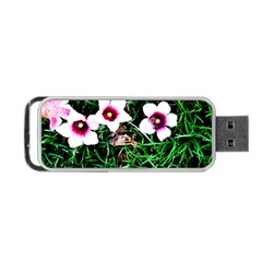 Pink Flowers Over A Green Grass Portable Usb Flash (one Side)