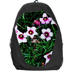 Pink Flowers Over A Green Grass Backpack Bag