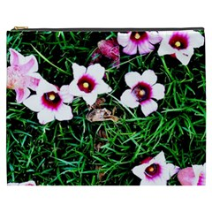 Pink Flowers Over A Green Grass Cosmetic Bag (xxxl)  by DanaeStudio