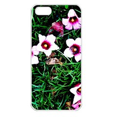 Pink Flowers Over A Green Grass Apple Iphone 5 Seamless Case (white) by DanaeStudio