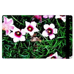 Pink Flowers Over A Green Grass Apple Ipad 2 Flip Case by DanaeStudio