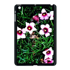 Pink Flowers Over A Green Grass Apple Ipad Mini Case (black) by DanaeStudio