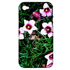 Pink Flowers Over A Green Grass Apple Iphone 4/4s Hardshell Case (pc+silicone)