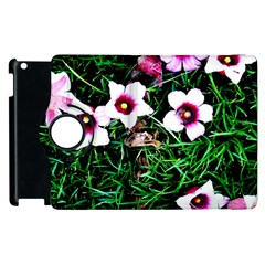 Pink Flowers Over A Green Grass Apple Ipad 2 Flip 360 Case by DanaeStudio