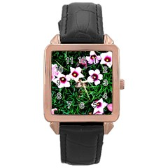 Pink Flowers Over A Green Grass Rose Gold Leather Watch