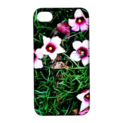 Pink Flowers Over A Green Grass Apple Iphone 4/4s Hardshell Case With Stand