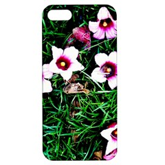 Pink Flowers Over A Green Grass Apple Iphone 5 Hardshell Case With Stand