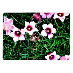 Pink Flowers Over A Green Grass Samsung Galaxy Tab 10 1  P7500 Flip Case by DanaeStudio
