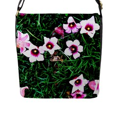 Pink Flowers Over A Green Grass Flap Messenger Bag (l)  by DanaeStudio