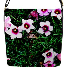 Pink Flowers Over A Green Grass Flap Messenger Bag (s) by DanaeStudio