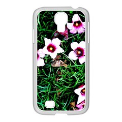 Pink Flowers Over A Green Grass Samsung Galaxy S4 I9500/ I9505 Case (white)