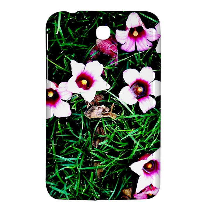 Pink Flowers Over A Green Grass Samsung Galaxy Tab 3 (7 ) P3200 Hardshell Case
