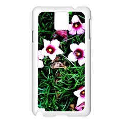 Pink Flowers Over A Green Grass Samsung Galaxy Note 3 N9005 Case (white) by DanaeStudio
