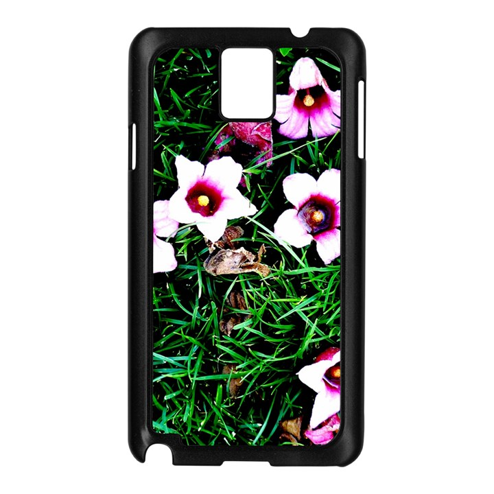 Pink Flowers Over A Green Grass Samsung Galaxy Note 3 N9005 Case (Black)