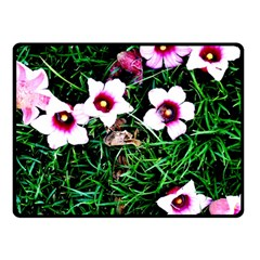 Pink Flowers Over A Green Grass Double Sided Fleece Blanket (small)  by DanaeStudio