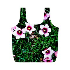 Pink Flowers Over A Green Grass Full Print Recycle Bags (m)