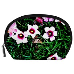 Pink Flowers Over A Green Grass Accessory Pouches (large)