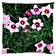 Pink Flowers Over A Green Grass Standard Flano Cushion Case (one Side) by DanaeStudio