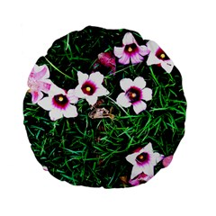 Pink Flowers Over A Green Grass Standard 15  Premium Flano Round Cushions