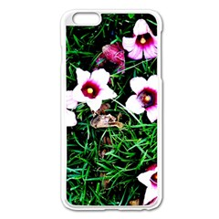 Pink Flowers Over A Green Grass Apple Iphone 6 Plus/6s Plus Enamel White Case by DanaeStudio
