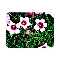 Pink Flowers Over A Green Grass Double Sided Flano Blanket (mini)
