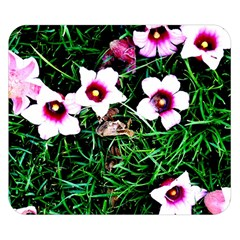 Pink Flowers Over A Green Grass Double Sided Flano Blanket (small)  by DanaeStudio