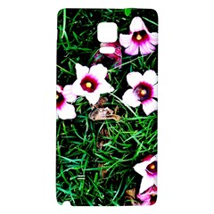 Pink Flowers Over A Green Grass Galaxy Note 4 Back Case