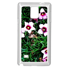 Pink Flowers Over A Green Grass Samsung Galaxy Note 4 Case (white)