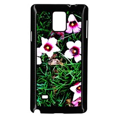 Pink Flowers Over A Green Grass Samsung Galaxy Note 4 Case (black) by DanaeStudio