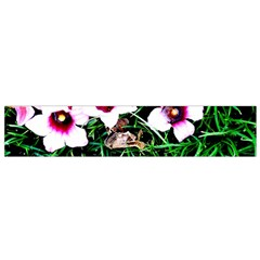 Pink Flowers Over A Green Grass Flano Scarf (small)