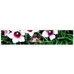 Pink Flowers Over A Green Grass Flano Scarf (Small) Front