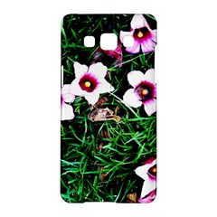 Pink Flowers Over A Green Grass Samsung Galaxy A5 Hardshell Case  by DanaeStudio