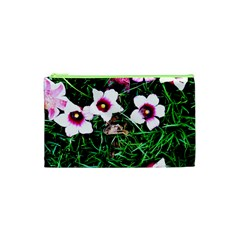 Pink Flowers Over A Green Grass Cosmetic Bag (xs)