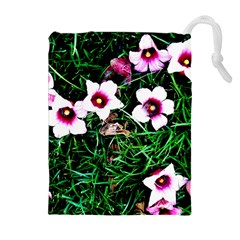 Pink Flowers Over A Green Grass Drawstring Pouches (extra Large) by DanaeStudio