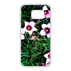 Pink Flowers Over A Green Grass Samsung Galaxy S7 Edge White Seamless Case by DanaeStudio