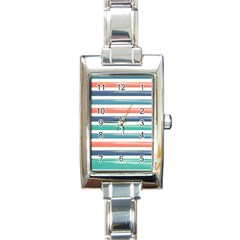 Summer Mood Striped Pattern Rectangle Italian Charm Watch